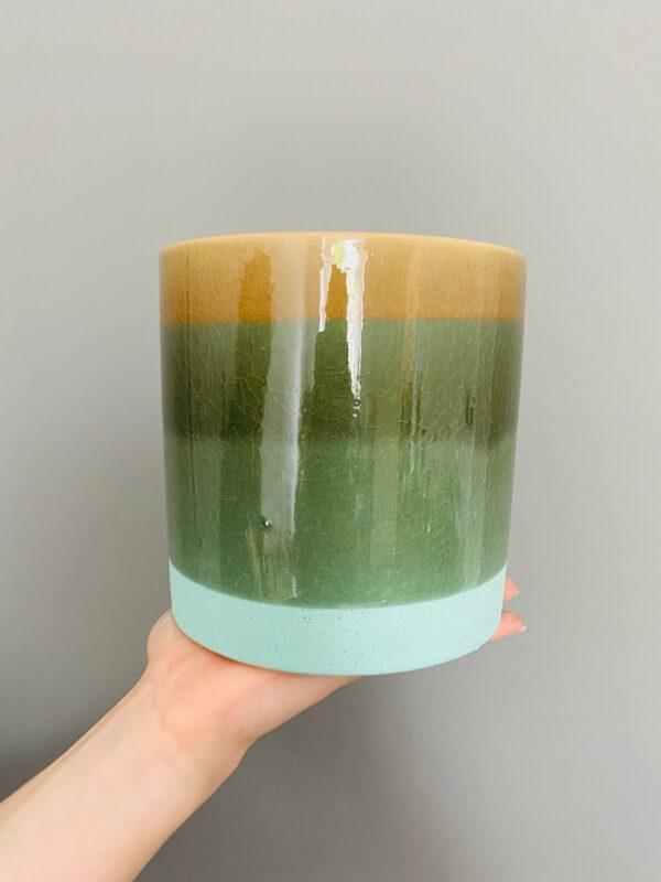 Kolorowa osłonka ceramiczna, zielono-brązowa z niebieskim spodem