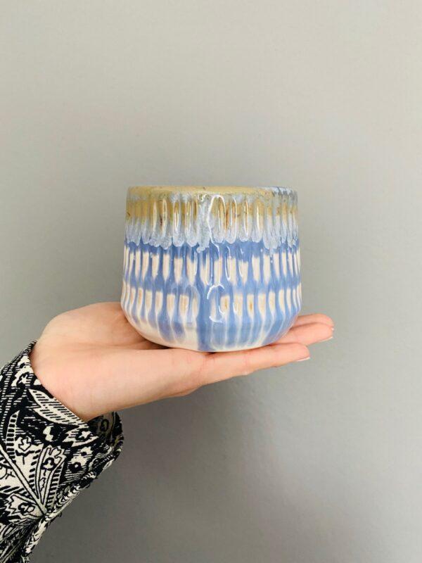 Kolorowa osłonka ceramiczna, niebiesko-biało-beżowa